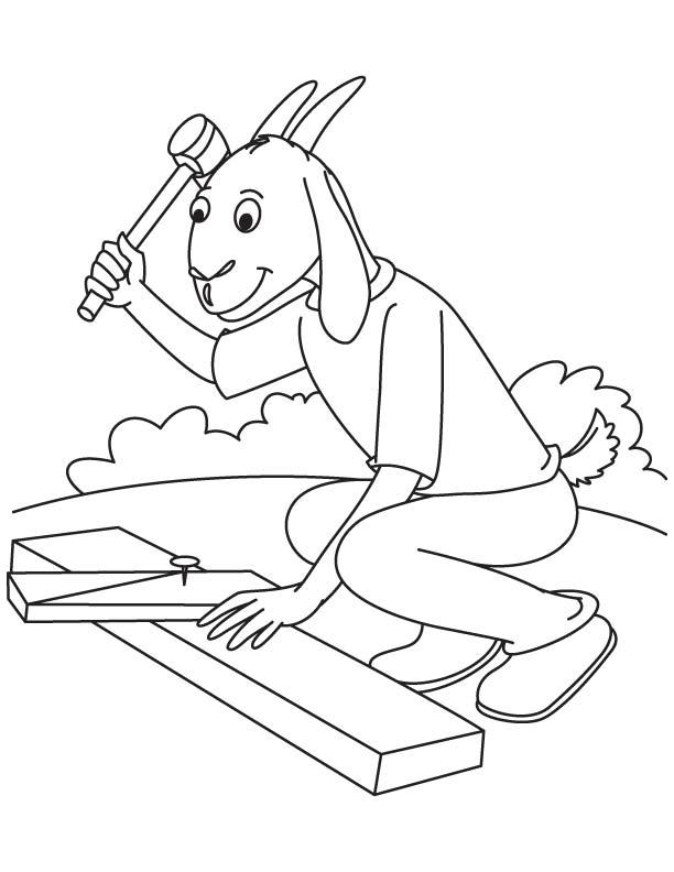 Goat carpenter coloring page