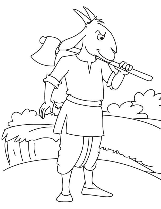 Goat farmer coloring page