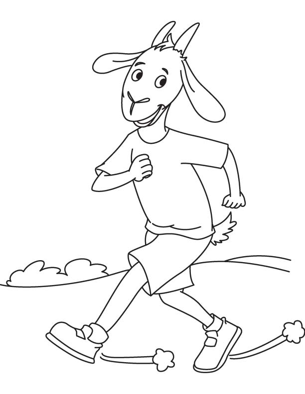 Goat jogging coloring page