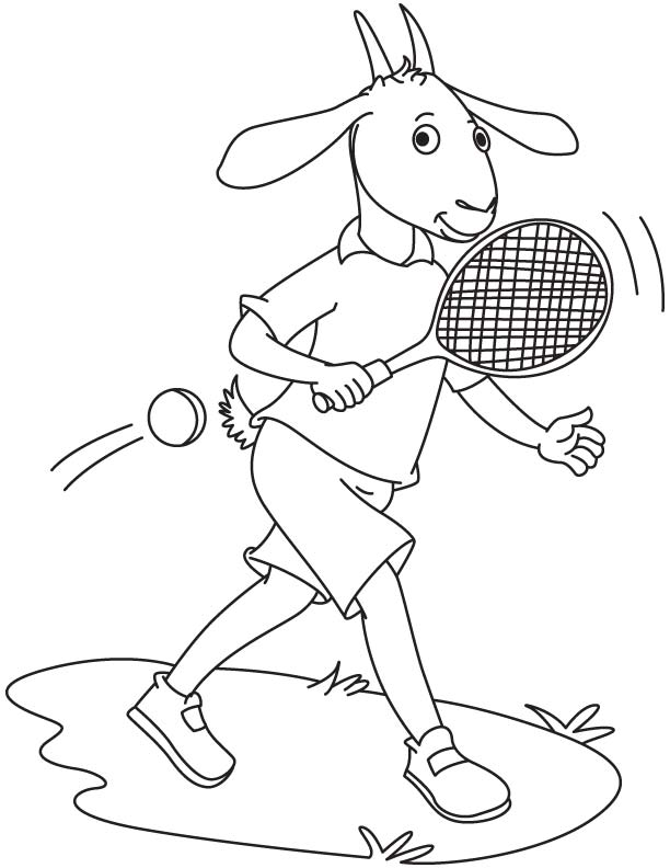 Goat playing tennis coloring page