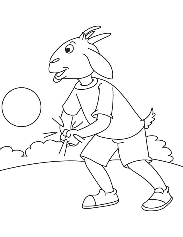 Goat playing coloring page