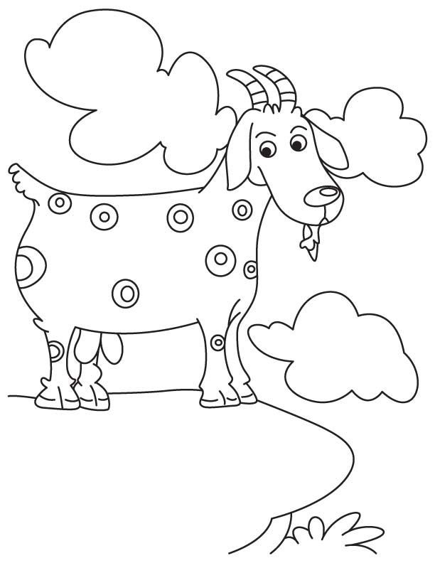 Goat trapped coloring page