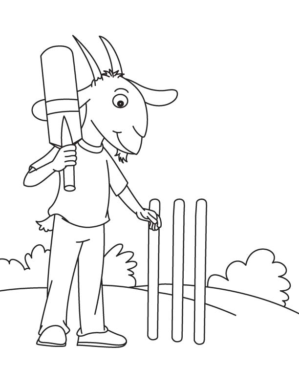Goat with bat coloring page