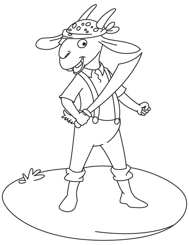 Goat with sword coloring page