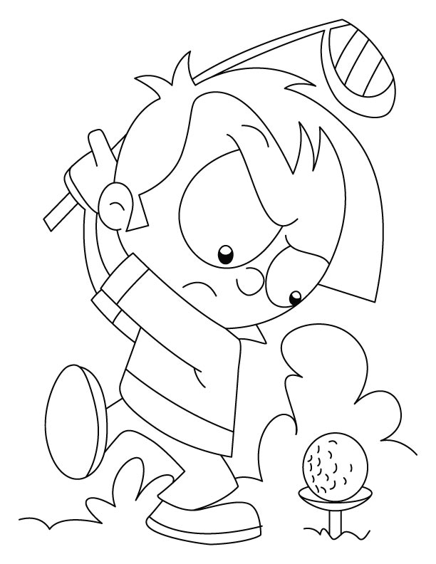 Angry Boy Playing Golf Coloring Page