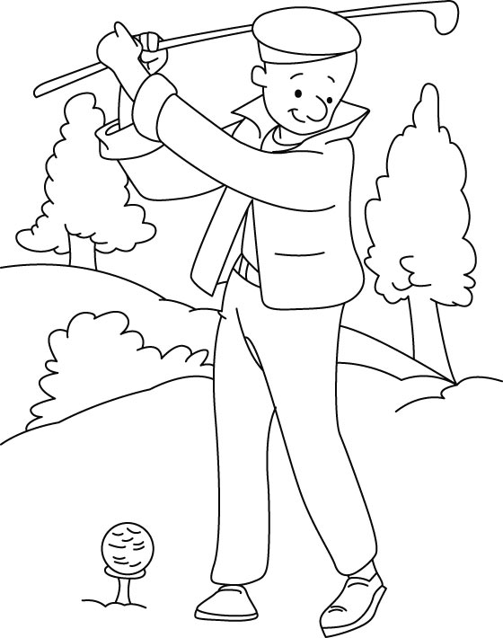 Playing golf coloring page Download Free Playing golf coloring