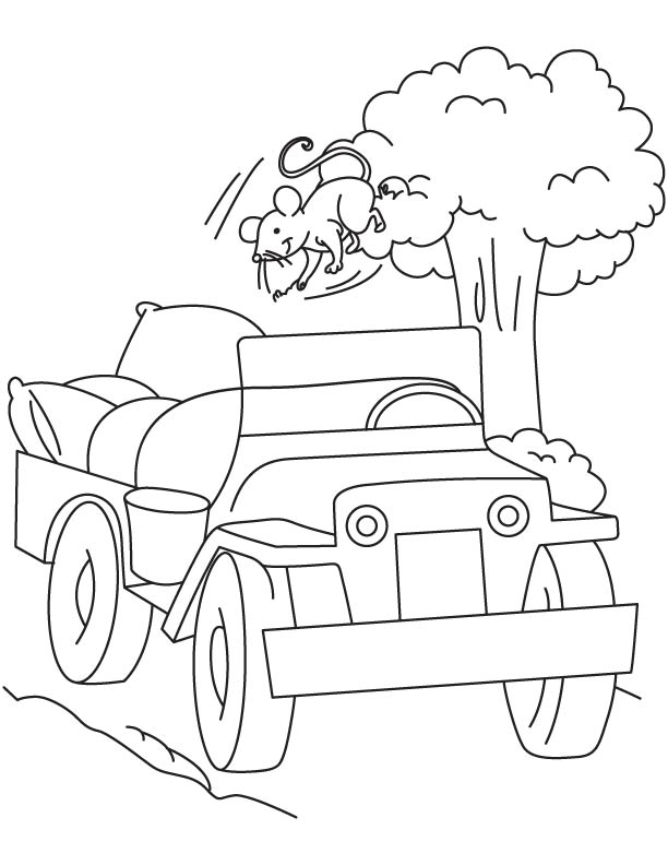 Goods carrying jeep coloring page