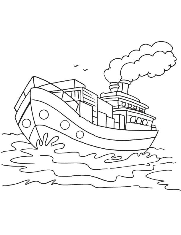 Goods ship coloring page