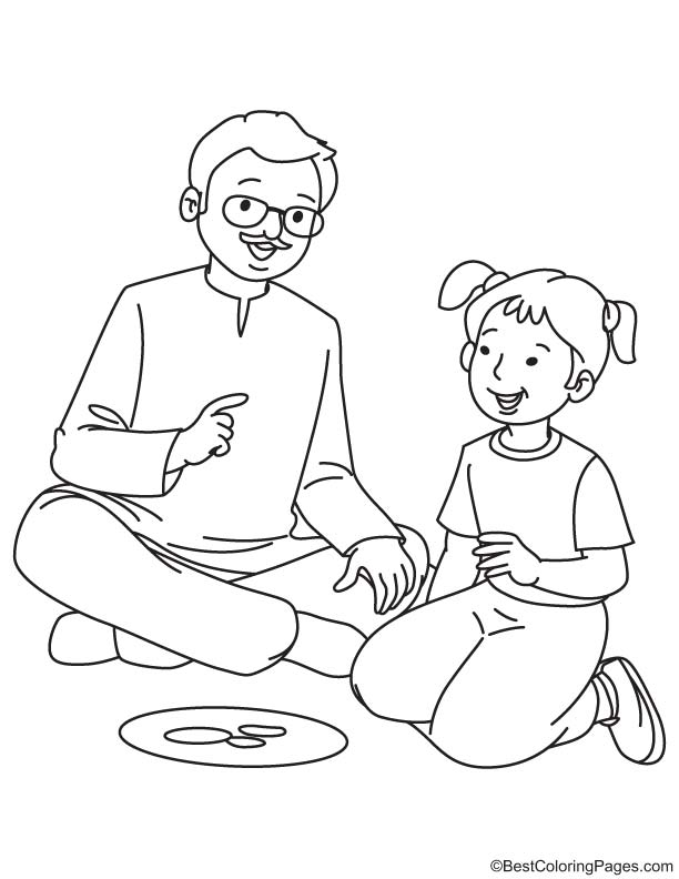 grandfather with granddaughter coloring page download