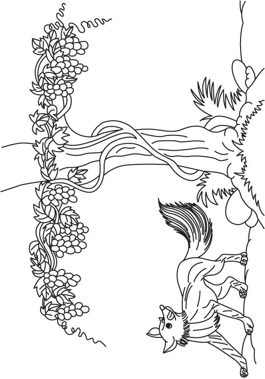 Grapes are sour coloring page
