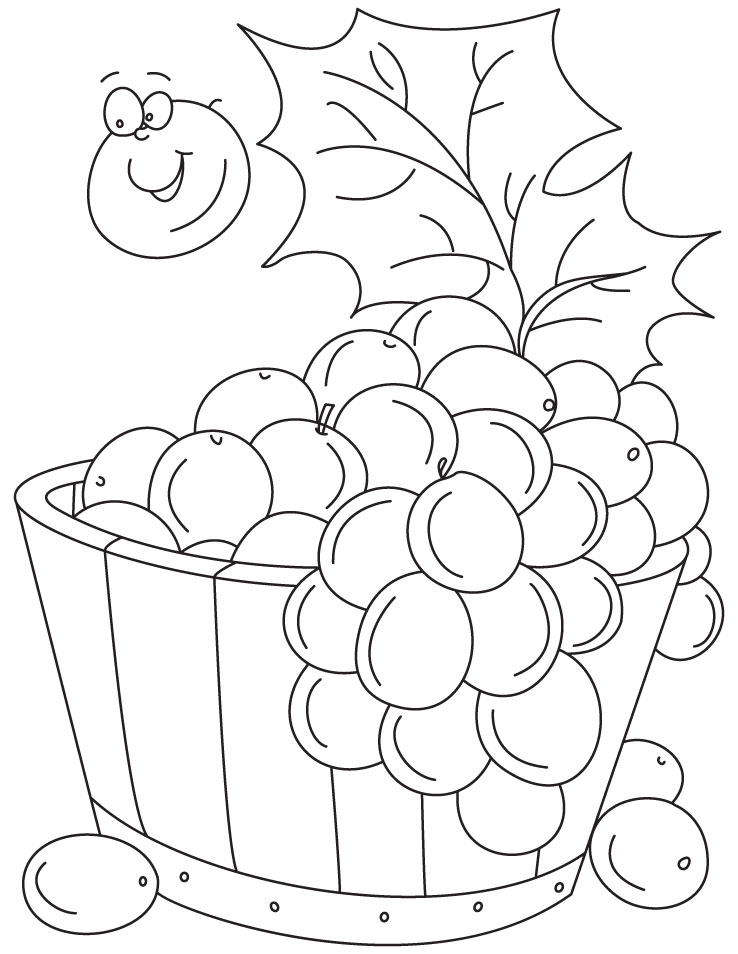 Grapes In Tub Coloring Pages