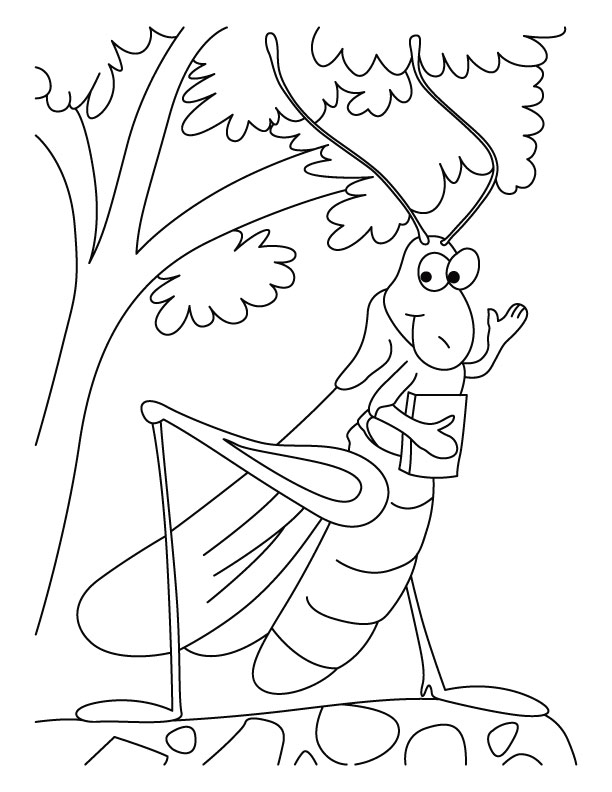 Grasshopper-the schoollover coloring pages