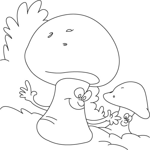 Growing mushrooms coloring page