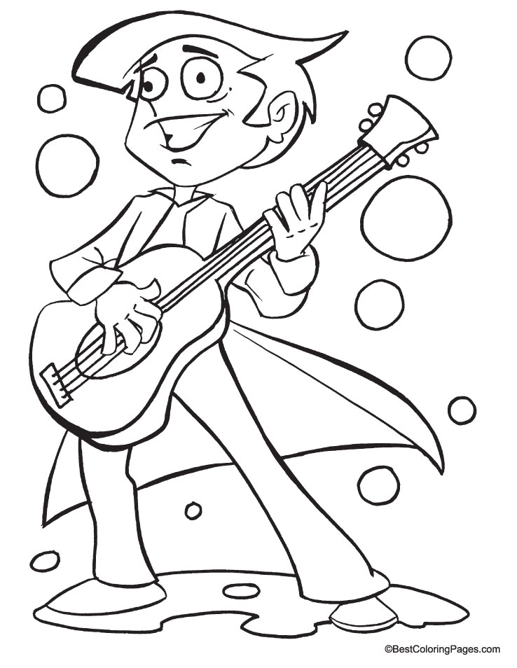 Guitar coloring page | Download Free Guitar coloring page for kids ...