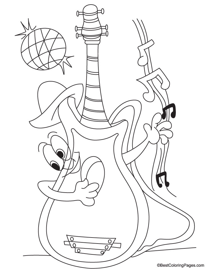 Children With Guitar Coloring Pages