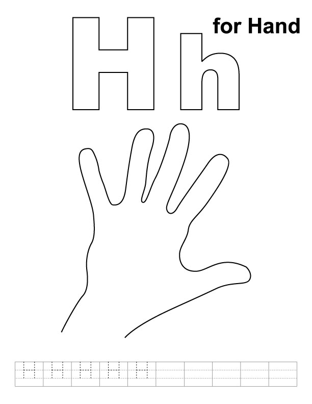 h for hand coloring page with handwriting practice - Hand Coloring Page