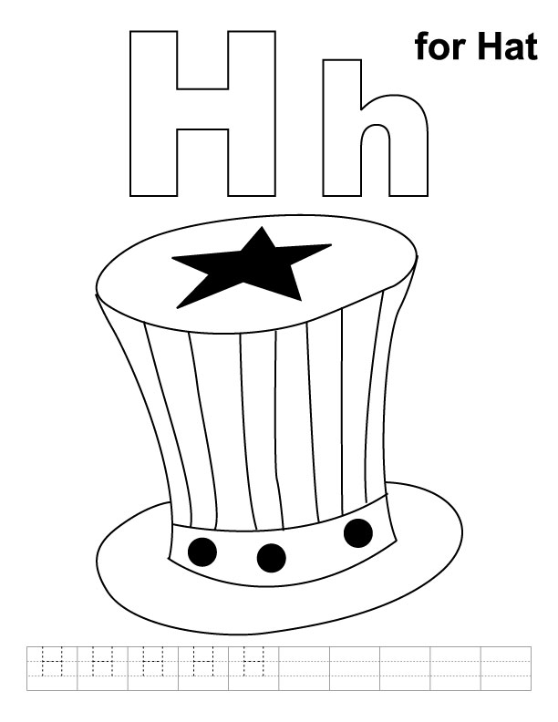 H for hat coloring page with handwriting practice