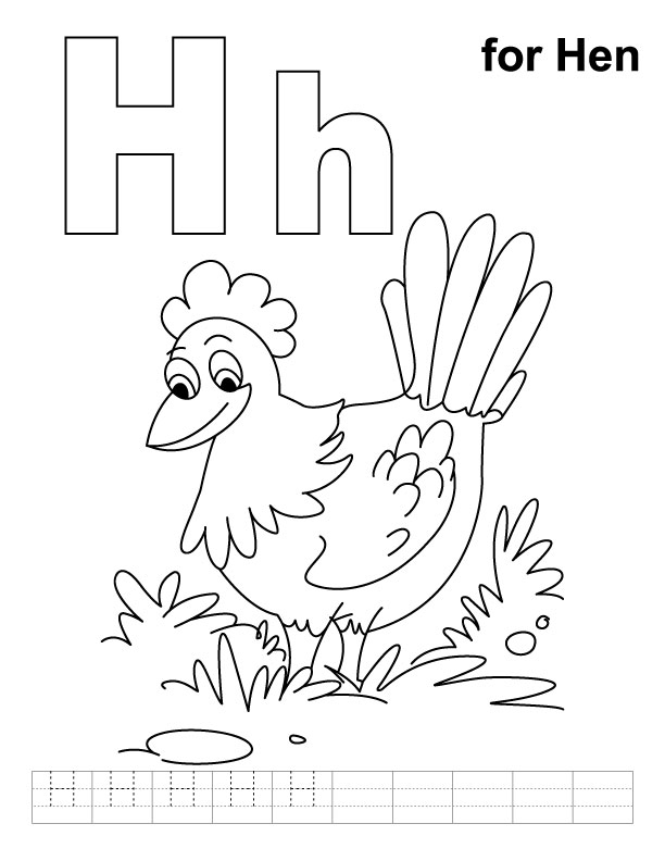 H for hen coloring page with handwriting practice  Download Free