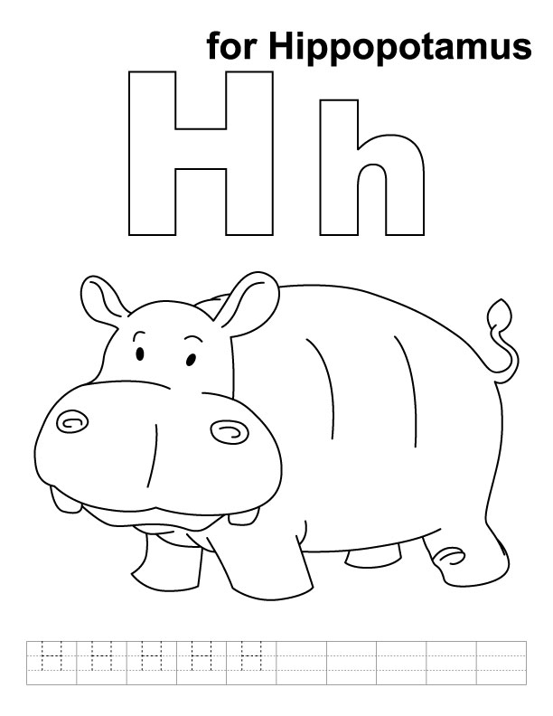 h is for hippo coloring pages - photo #1