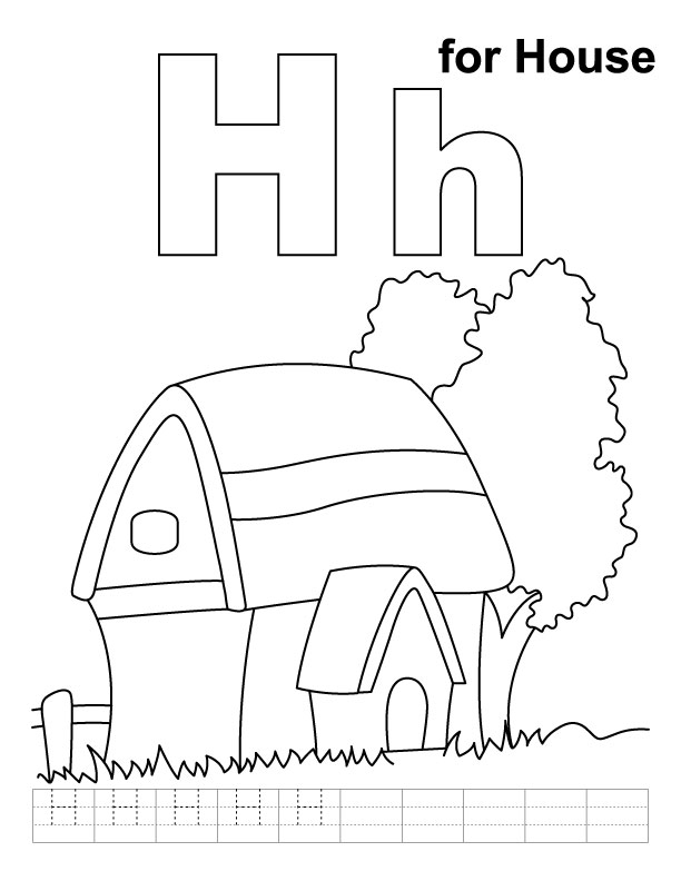 H for house coloring page with handwriting practice  Download