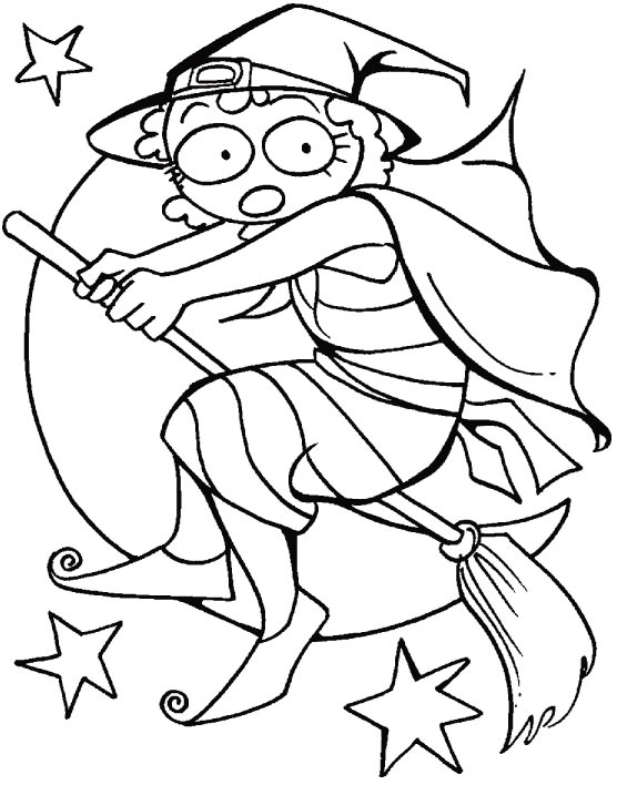 The witches fly, across the sky coloring pages