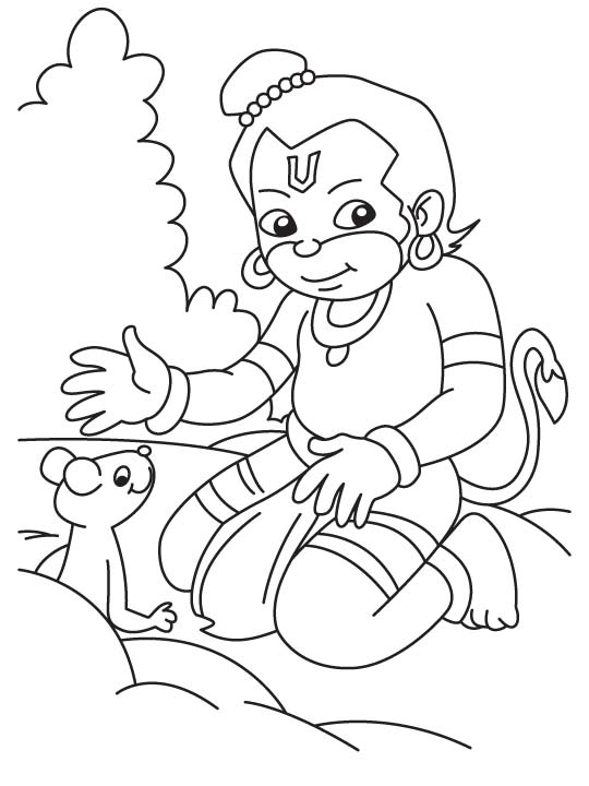 Hanumana Playing Coloring Page Download Free Hanumana Playing Coloring Page For Kids Best Coloring Pages