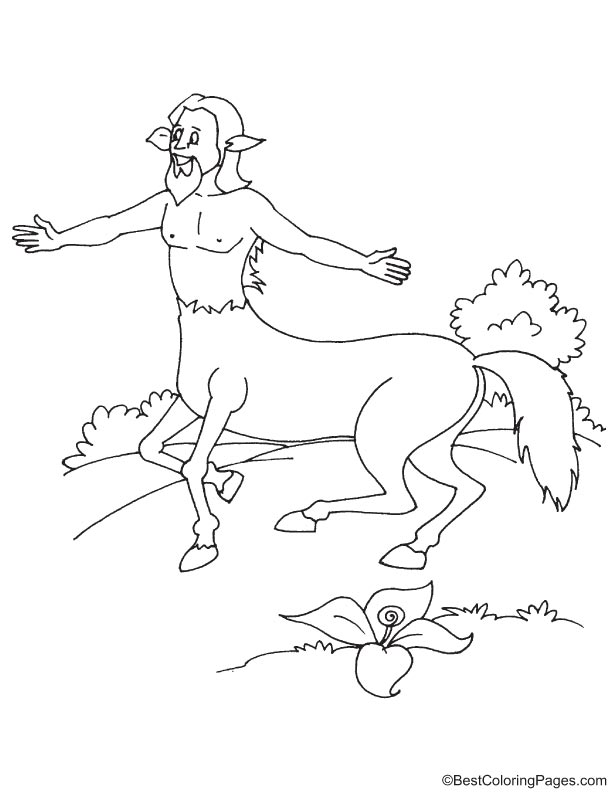 Happy centaur coloring page