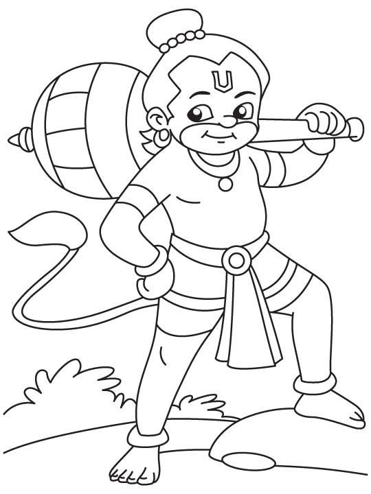 happy baby hanuman coloring page - Baby Krishna Images Coloring Pages
