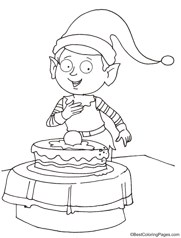 Happy birthday elf coloring page