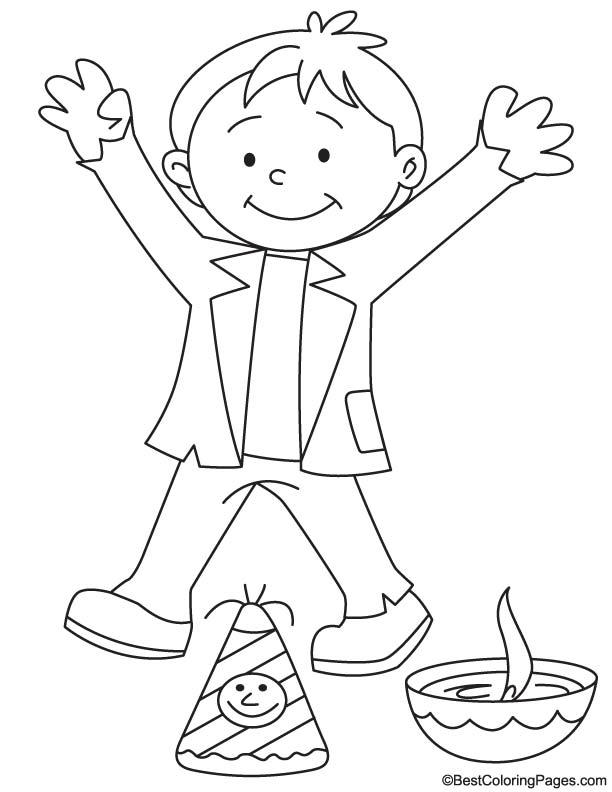 Happy boy on diwali