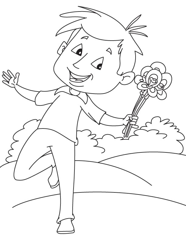 Happy Boy With Iris Flower Coloring Page