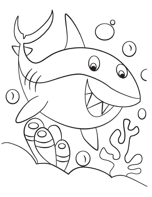 happy cute shark coloring page
