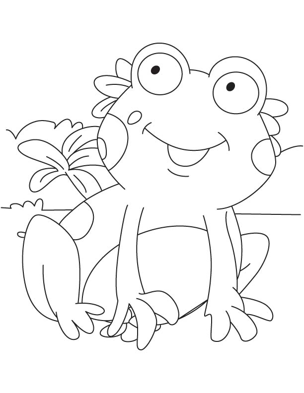 Happy froglet coloring page