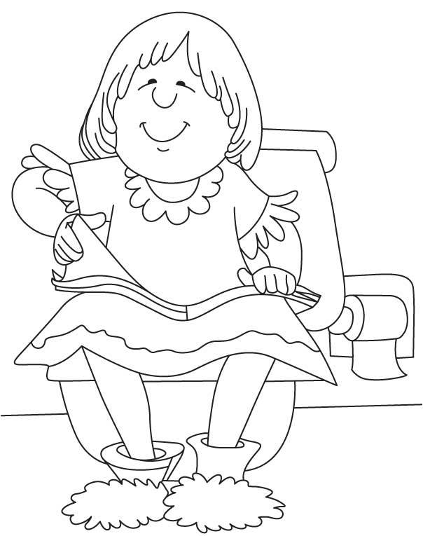 Happy girl reading coloring page