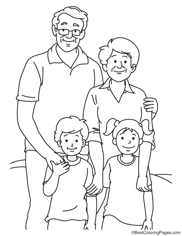 Happy grandparents with kids coloring page