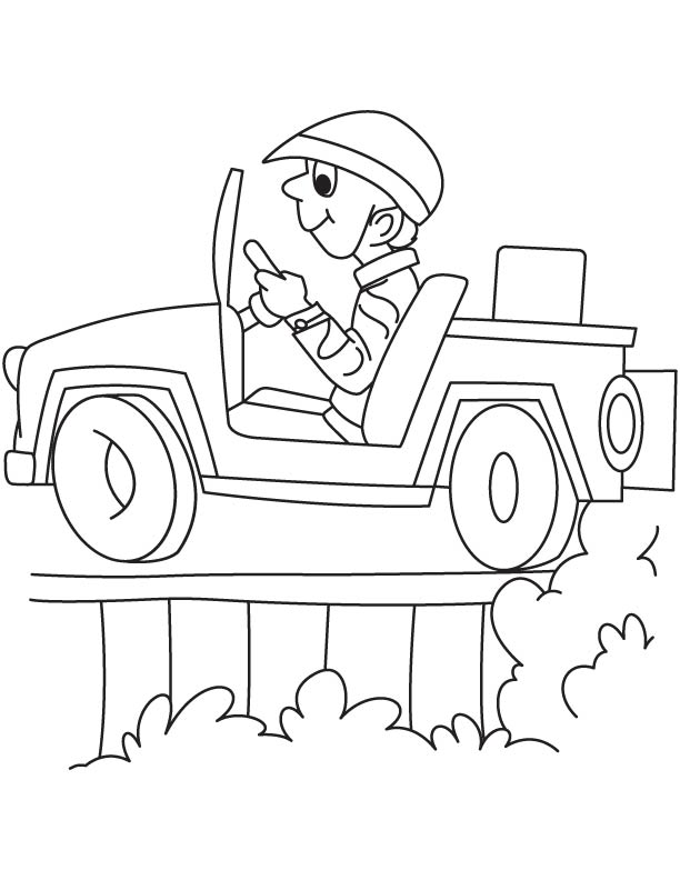 Happy jeep driver coloring page