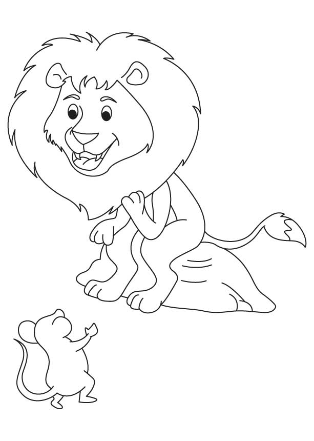 Happy lion with mouse coloring page Download Free Happy