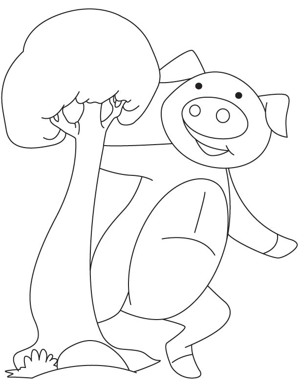 Happy piglet coloring page