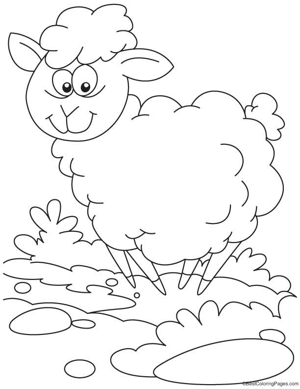 Happy sheep coloring page