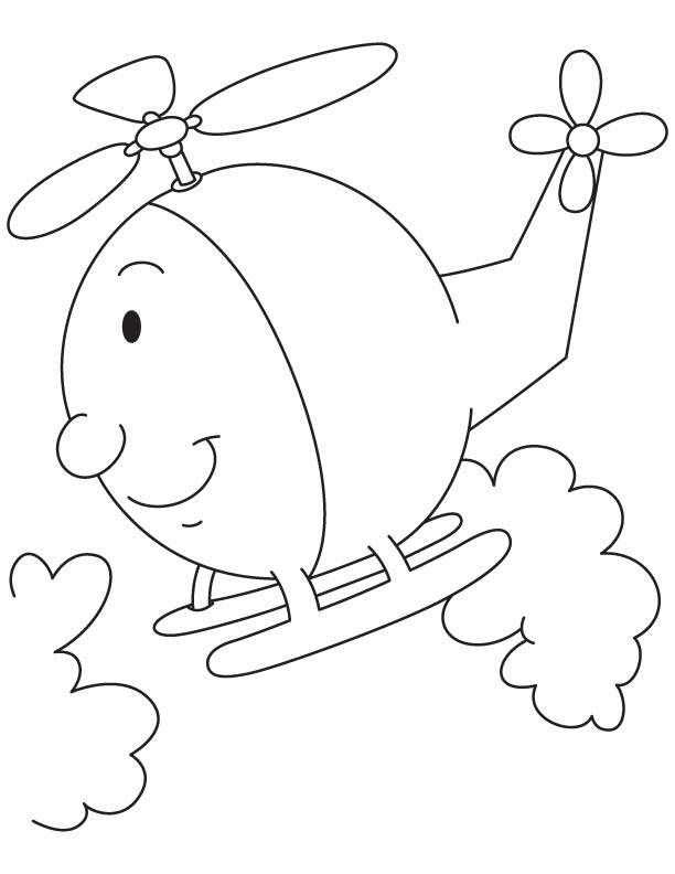 Cartoon Helicopter Coloring Page Download Free Cartoon
