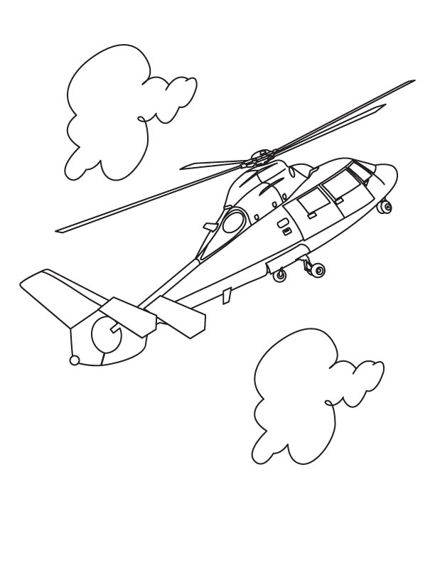 Helicopter in cloud coloring page Download Free Helicopter in