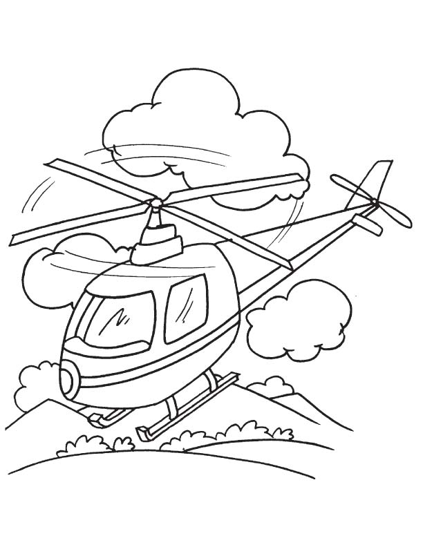 Helicopter Landing Coloring Page
