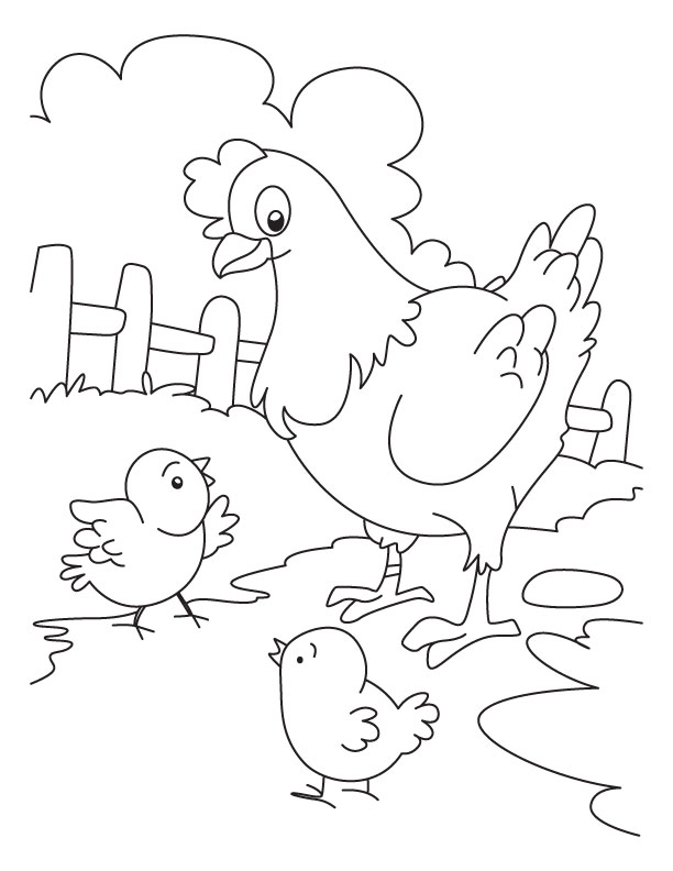 Hen and Chicken coloring page Download Free Hen and Chicken