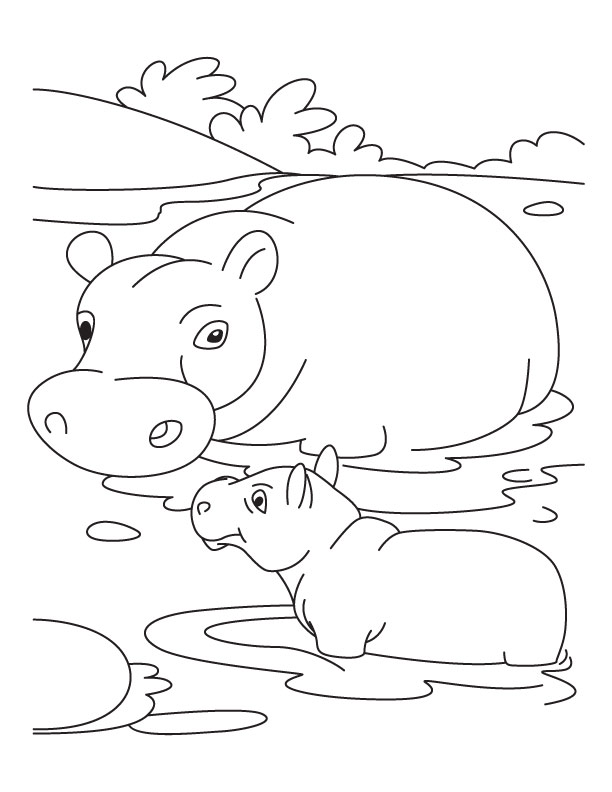Baby hippo with mother hippo coloring pages download for Baby hippo coloring pages