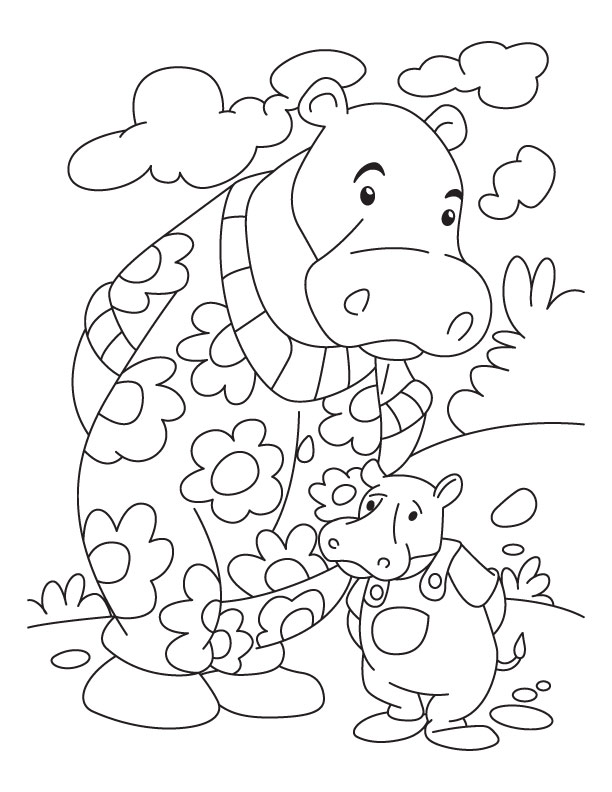 Hippo and Baby Hppo coloring page