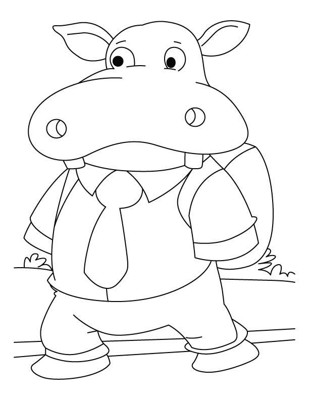 Student hippopotamus coloring pages