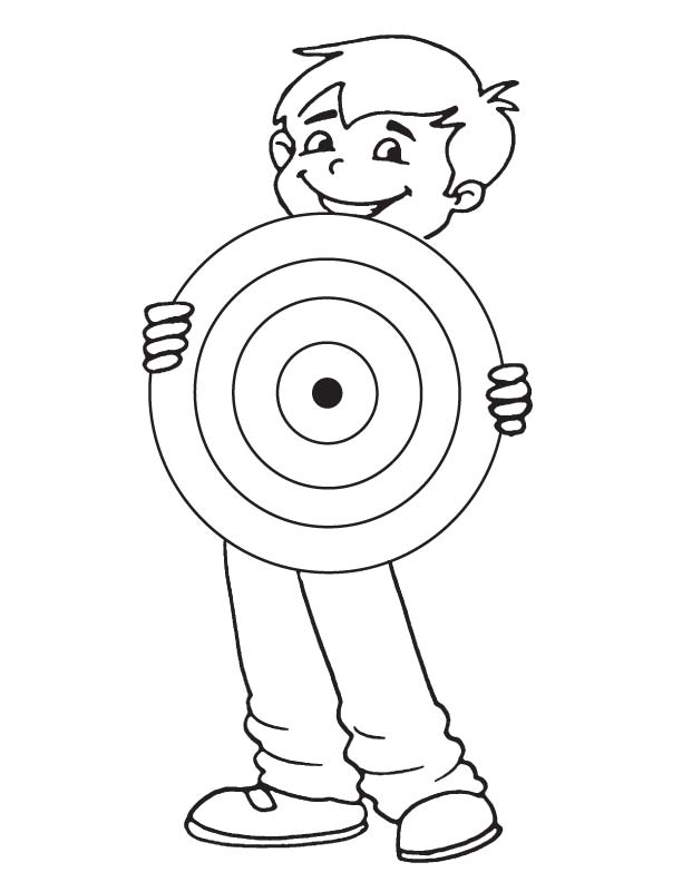 Holding dartboard coloring page