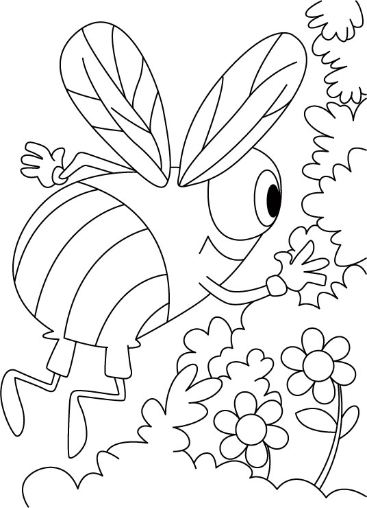 Honey bee whispers in flower ears coloring pages