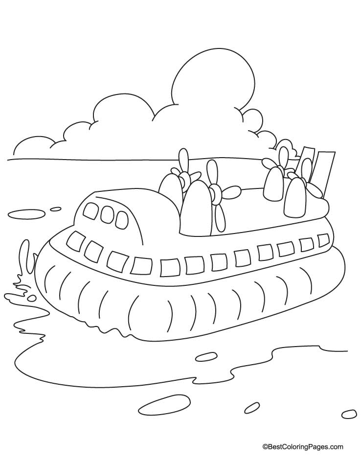 Hovercraft in the sea coloring pages