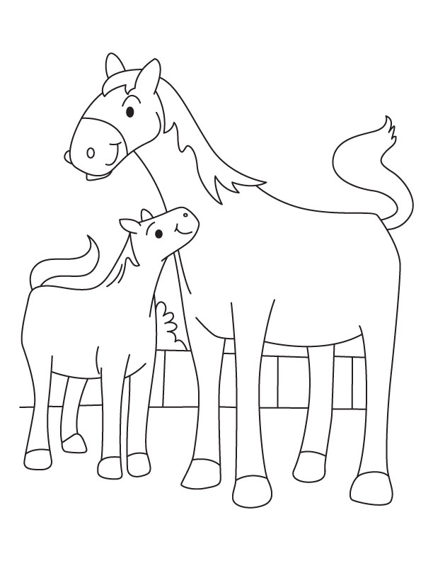 Colt with mother mare coloring page